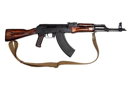 akm: AKM (Avtomat Kalashnikova) Kalashnikov assault rifle on white