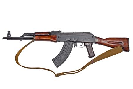 akm: AKM  Avtomat Kalashnikova Kalashnikov assault rifle on white Stock Photo