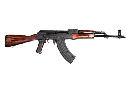 akm:  AKM (Avtomat Kalashnikova) Kalashnikov assault rifle on white Stock Photo