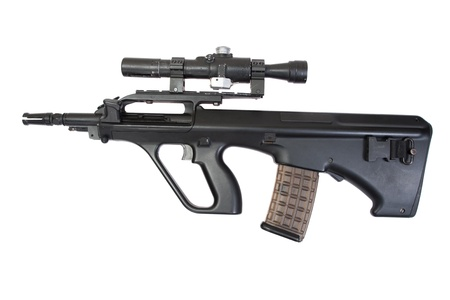 counter terrorism: modern assault rifle isolated on a white background