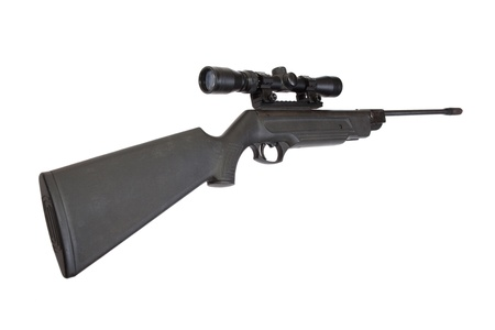 pneumatic: pneumatic air rifle with optical sight isolated on white background Stock Photo