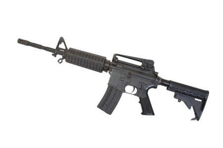 armament: US Army carbine with silencer isolated on a white background