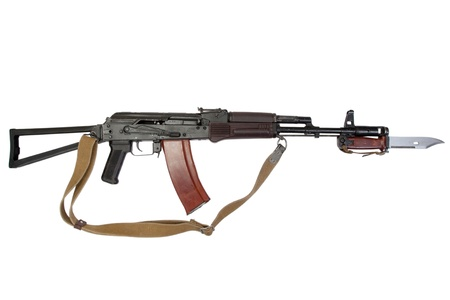 kalashnikov assault rifle aks-74 with bayonet isolated on a white background photo
