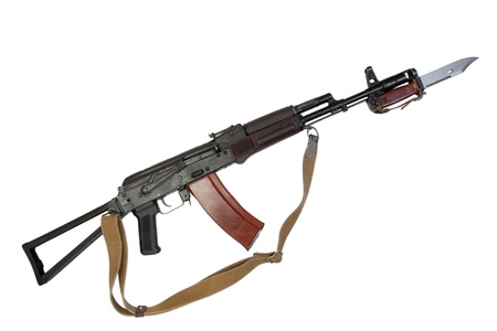 kalashnikov AK para with bayonet isolated on a white background photo