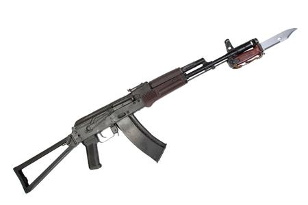 kalashnikov assault rifle aks-74 with bayonet isolated on a white background photo