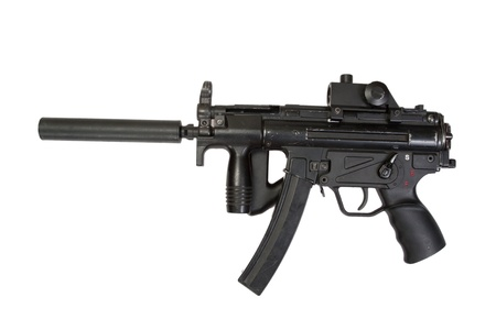 the silencer: german submachine gun MP5 with silencer isolated
