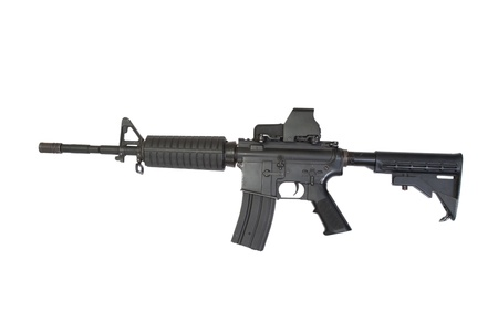 gunsight: US Army carbine with ACOG Gunsight isolated on a white background