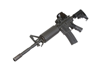gunsight: US Army carbine with Advanced Combat Optical Gunsight isolated on a white background