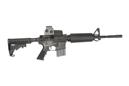 gunsight: M4 carbine with optical gunsight isolated on a white background