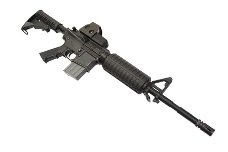gunsight: M4A1 carbine with optical gunsight isolated on a white background Stock Photo