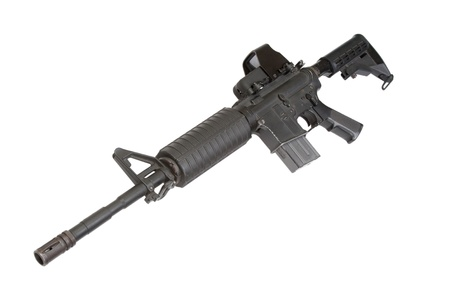 M4A1 carbine with optical gunsight isolated on a white background Stock Photo - 19950491