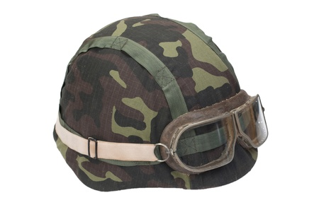 disruptive: camouflage military helmet with goggles Stock Photo