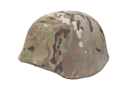 kevlar: kevlar helmet with multicam pattern camouflaged cover isolated on white