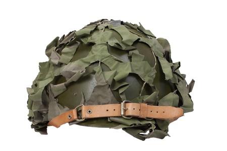 camouflage military helmet Stock Photo