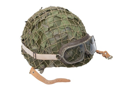 army helmet with goggles isolated on a white