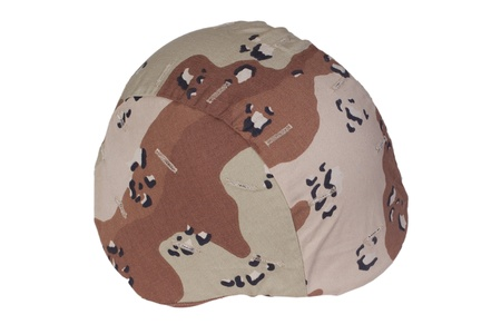 kevlar: Kevlar helmet with a chocolate-chip camouflage cover from Operation Desert Storm