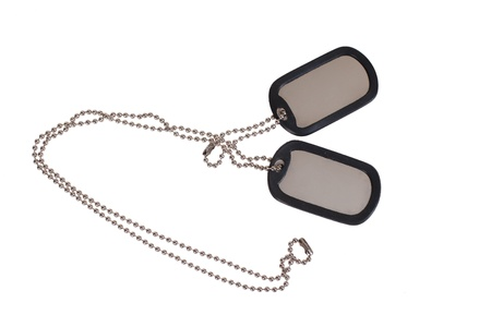 blank US army dog tags on white