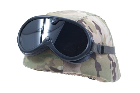 kevlar: us army kevlar helmet with a multicam camouflage cover and protective goggles Stock Photo