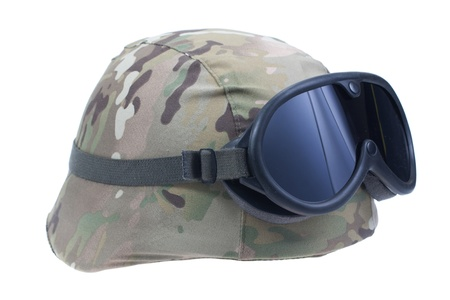 kevlar: us marines kevlar helmet with a multicam camouflage cover and protective goggles Stock Photo