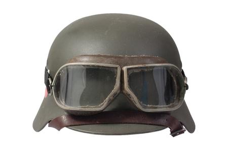 nazi german helmet with protective goggles
