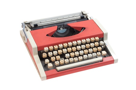 Retro typewriter with cyrillic keyboard layout isolated on white background Stock Photo - 19956442