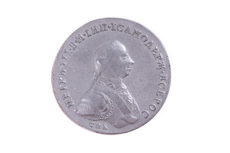 antiquary: Rusia rublo una moneda del siglo 18 con Petr retrato III en un lado Foto de archivo