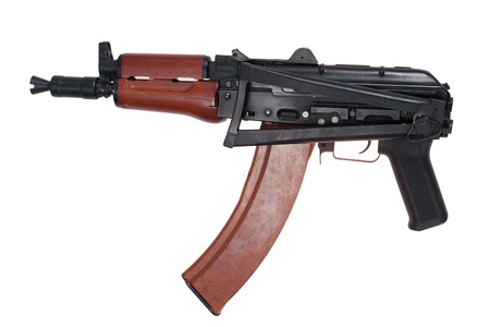 kalashnikov aks74u with machine-gun shop isolated on a white background photo