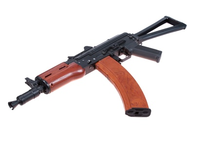 laden: favorite weapon usama bin laden - kalashnikov aks74u isolated on a white background Stock Photo
