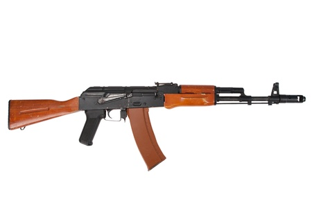 kalashnikov ak74 isolated on a white background 免版税图像