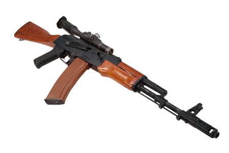 akm: kalashnikov assault rifle ak74 with sniper scope isolated on a white background