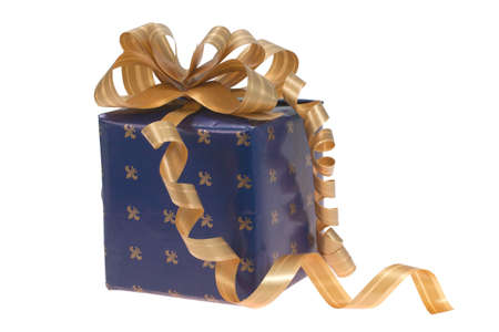 new year blue gift with yellow bow on a white background photo