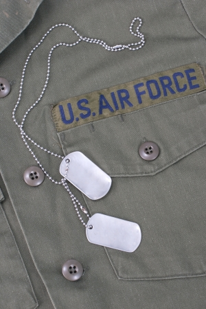 us air force: us air force iniform with blank  dog tags Editorial