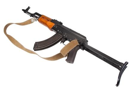 akm: Kalashnikov AK47 with silencer isolated on white Stock Photo