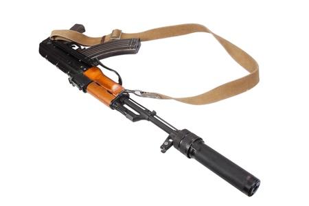 the silencer: Kalashnikov AK47 with silencer isolated on white Stock Photo