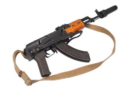 Kalashnikov AK47 with silencer isolated on white Archivio Fotografico