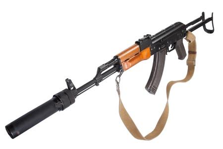 Kalashnikov AK47 with silencer isolated on white photo