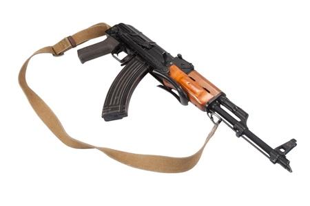 airborn: Kalashnikov AK47 isolated on white Stock Photo