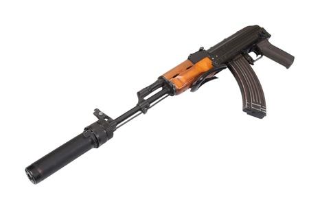 Kalashnikov specnaz with silencer isolated on white Stock Photo - 19950414