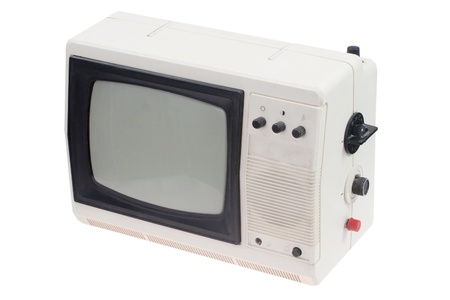 Vintage white portable TV set isolated photo