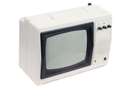 retro white portable TV set isolated photo