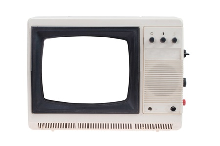 Vintage TV set with blank white screen isolated on white  photo