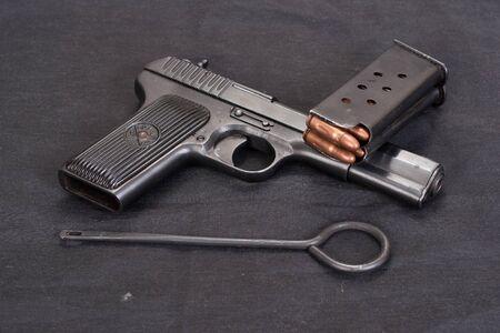 handgun on black background Stok Fotoğraf