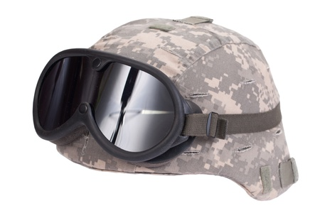 kevlar: us army kevlar helmet with camouflage cover and protective goggles