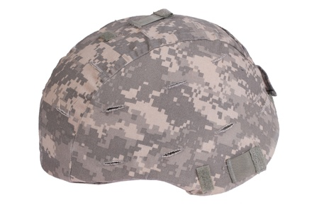 kevlar: us army kevlar helmet with camouflage cover Stock Photo