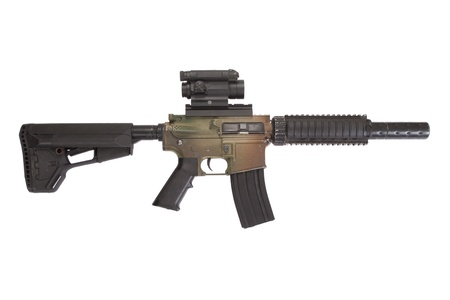 gunsight: M4 CQB rifle with gunsight isolated on a white background