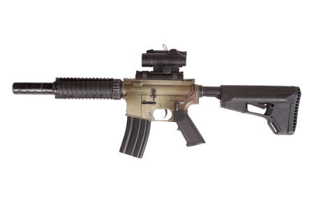 gunsight: Special Operations rifle with gunsight isolated on a white background