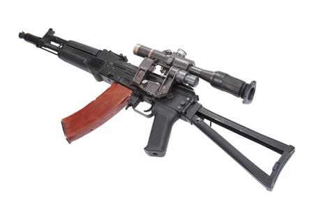 Kalashnikov AK105 modern assault rifle with optical sight on white photo