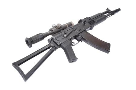 Kalashnikov AK with optical sight on white photo