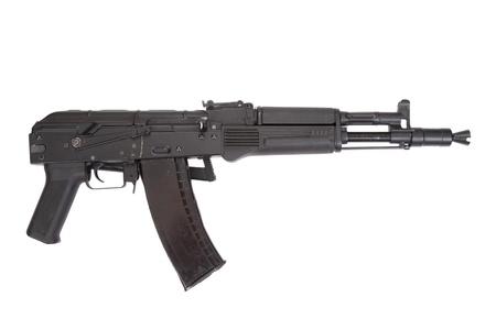a new modern Kalashnikov assault rifle on white photo