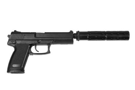 the silencer: spy handgun with silencer on white background